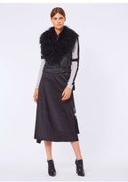 Amanda Wakeley Black Crop Jacket With Mongolian Fur Collar