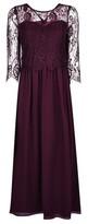 Dorothy Perkins Womens Showcase Petite Mulberry Lace Long Sleeve Bodice Maxi Dress