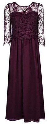 Dorothy Perkins Womens Showcase Petite Mulberry Lace Long Sleeve Bodice Maxi Dress