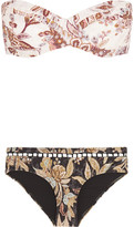 Zimmermann Good Times Printed Bandeau Bikini - White
