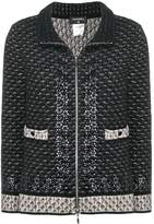 Chanel Pre Owned standing collar knitted jacket