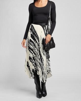 Express High Waisted Pleated Brushstroke Midi Skirt