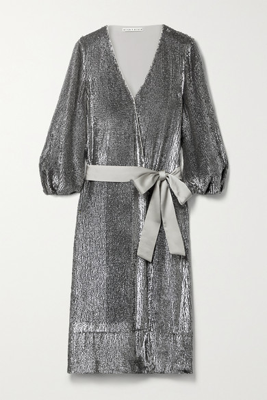 Alice + Olivia Alice Olivia - Anne Satin-trimmed Sequined Crepe De Chine Wrap Midi Dress - Silver