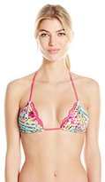 Beach Bunny Women's Hot Tropic Reversible Lace Triangle Bikini Top