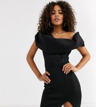 Bardot Asos Tall ASOS DESIGN Tall one shoulder mini dress with fold detail-Black