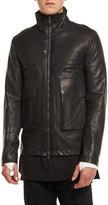 Helmut Lang Leather Funnel-Neck Jacket, Black