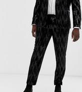 Asos Design DESIGN Plus skinny suit pants in black velvet and sequins