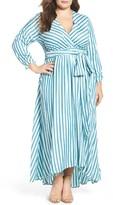 Melissa McCarthy Plus Size Women's Stripe Twill Wrap Maxi Dress