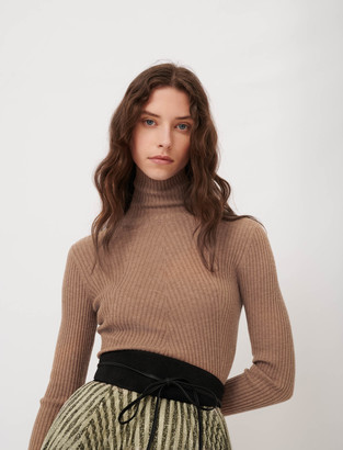 Maje Fine ribbed sweater, stand-up collar