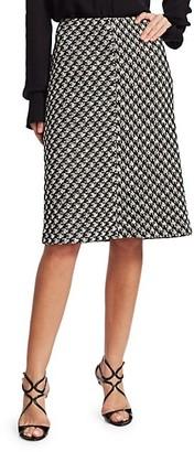 St. John Houndstooth Textured Boucle Knit A-Line Skirt