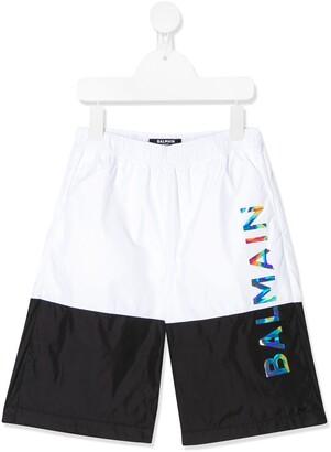 Balmain Kids colour-block logo swim shorts
