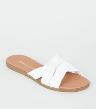 New Look Leather-Look Footbed Sliders