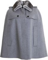 Burberry Grey Wool Blend And Fur Cape Coat