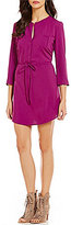 BB Dakota Kesler Split V-Neck 3/4 Sleeve Drawstring Waist Solid Crepe Dress