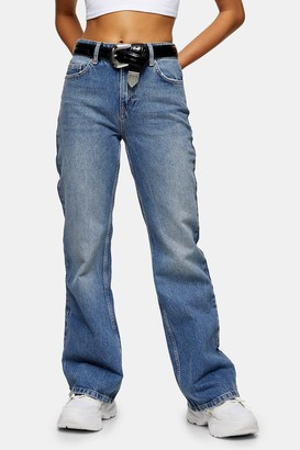 Topshop Womens Petite Mid Stone 90S Flare Jeans - Mid Stone