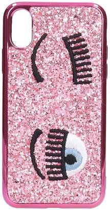 Chiara Ferragni Cover X/xs Iphone / Ipad Case In Rose-pink Pvc