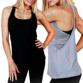Macrí New Ladies Mesh Poly Sports Racer Back Tank Tee Womens Gym Singlet Top