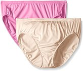 Ellen Tracy Women's Microfiber Hi Cut Brief Panty