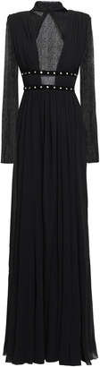 Philosophy di Lorenzo Serafini Embellished Lace-paneled Georgette Gown