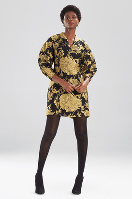 Natori Gold Flower Jacquard Dress