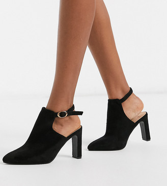 Simply Be extra wide fit open back pointed boots in black