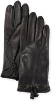 Neiman Marcus Leather Tassel Gloves w/ Faux-Fur Lining, Black