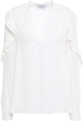 Bailey 44 Emma Pleated Ruffle-trimmed Crepe De Chine Blouse