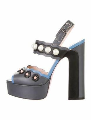 Fendi Leather Studded Accents Slingback Sandals Black