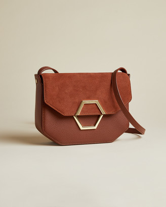 Ted Baker LENAH Leather and suede hexagon detail cross body bag