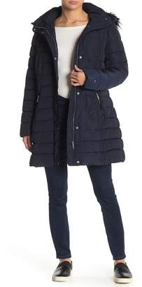 Tommy Hilfiger Trapunto Faux Fur Hooded Puffer Jacket