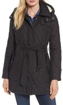 London Fog Women's Quilted Coat With Faux Shearling Lining