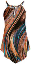 Lily Women's Tunics TEL - Rust & Teal Abstract Swirls Pointed-Hem Tunic - Women & Plus