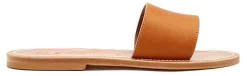 K. Jacques Anacapri Leather Slides - Womens - Tan