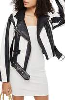 Topshop Boleyn Humbug Stripe Leather Jacket