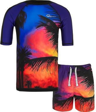 River Island Boys red palm print swim top set