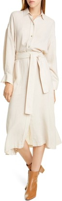 Vince Belted Long Sleeve Cotton Blend Shirtdress