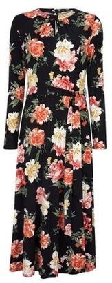 Dorothy Perkins Womens **Tall Black Floral Print Keyhole Midi Dress, Black