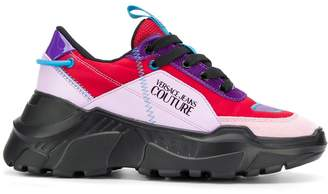 Versace colour block mid-top sneakers