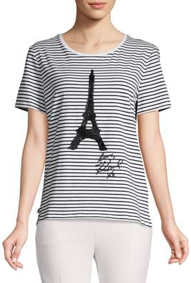 Karl Lagerfeld Paris Sequined Eiffel Tower Tee