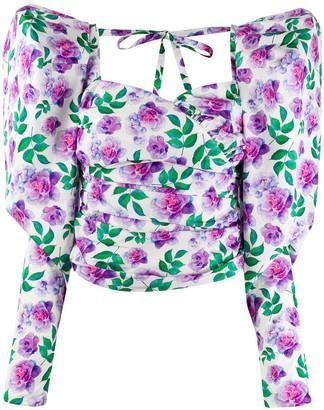 Giuseppe di Morabito Long-Sleeve Floral Print Top