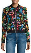 Neiman Marcus Floral-Embroidered Bomber Jacket, Multi Pattern