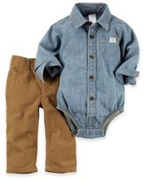 Carter's 2-Piece Chambray Bodysuit and Pant Set in Blue/Brown