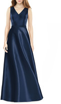 Alfred Sung V-Neck Sleeveless A-Line Satin Gown