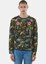 Gucci Men's Tropical Print Jersey Sweater In Black And Green