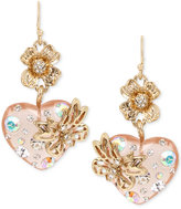 Betsey Johnson Gold-Tone Multi-Stone Floral Heart Drop Earrings
