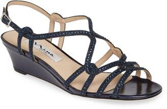 Nina Fynlee Crystal Embellished Wedge Sandal