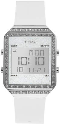 GUESS Women Digital Mini Flare White Silicone Strap Watch 35x47.5mm