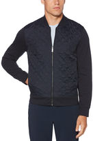 Perry Ellis Quilted Front Full Zip Sweater
