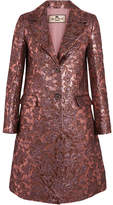Etro Metallic Wool-blend Jacquard Coat - Pink