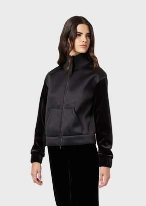 Emporio Armani Scuba-Fabric Sweatshirt With Velvet Sleeves And Full-Length Zipper